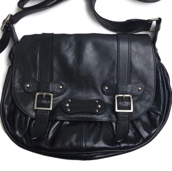 Longchamp Black Leather Crossbody Saddle Bag